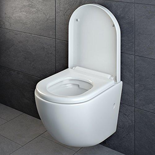 Design Wand Hänge WC ohne Spülrand Spülrandlos Toilette Sitz Softclose hängend 4 - 5