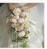 TTZSE Wasserfall-Art-rustikale künstliche Pfingstrosen-Brautstrauß-Fälschungs-Anlagen, die Blume mit Imitat-Perlen-Hochzeitsfest-Stützen halten kaskadieren