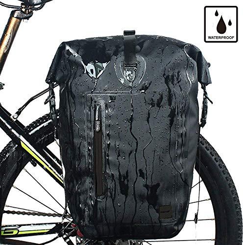 Rhinowalk Fahrrad Tasche Wasserdicht Fahrrad Gepäckträgertasche Hinterradtasche 25L Postman Sattel Tasche Bike Päcking Laptop Pannier Rack Fahrradtasche Laptop Professionelles Fahrradzubehör(2 in 1)