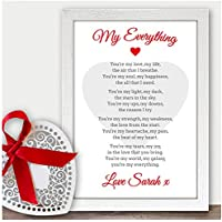 Personalised Wedding ANY Anniversary Poem Gift for Husband Wife 1st Anniversary - PERSONALISED for ANY Wedding Anniversary 1st, 2nd, 5th, 10th, 50th - Black or White Framed A5, A4, A3 Prints or 18mm Wooden Blocks