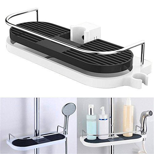 Shower Caddy Shelf Telescopic Pole No Drill Shower Organiser, Corner Riser Rail Soap Dish Holder Rack Rust Proof, Stainless Steel Wall Hanging Shower Rail Storage Bathroom Shelves Toiletry Soap Tray