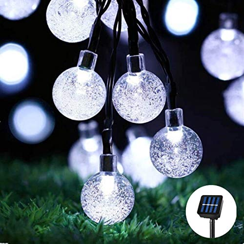 Fantasee Solar-Lichterkette, 30 LEDs, wasserdicht, Wassertropfen, für den Außenbereich, Garten, Terrasse, Garten, Weihnachten, Party, Dekoration 30LED - 21FT Bubble Ball - Cool White