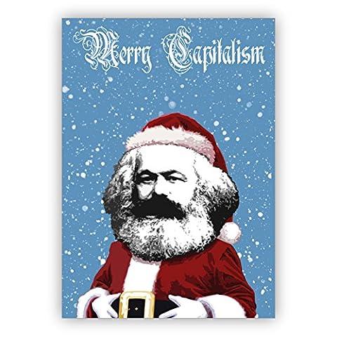 5er Weihnachts Grußkarten Set: Lustige Marx Weihnachtsmann Weihnachtskarte auch als Gutschein: Merry Capitalism