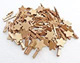 25pcs 30mm Mini Gold Clothes Pegs with Matching 18mm Gold Stars Craft For Shabby Chic Wedding & Christmas