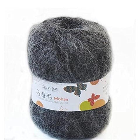 Celine lin One Skein Soft Natural Angola Mohair Wool Knitting Yarn 50g,Dark grey