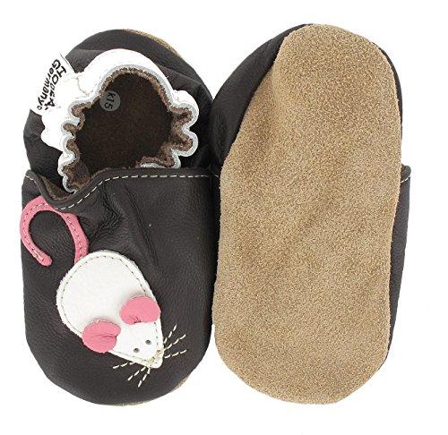 HOBEA-Germany Krabbelschuhe Maus, Chaussures Bébé quatre pattes (1-10 mois) mixte bébé Marron (dunkelbraun)