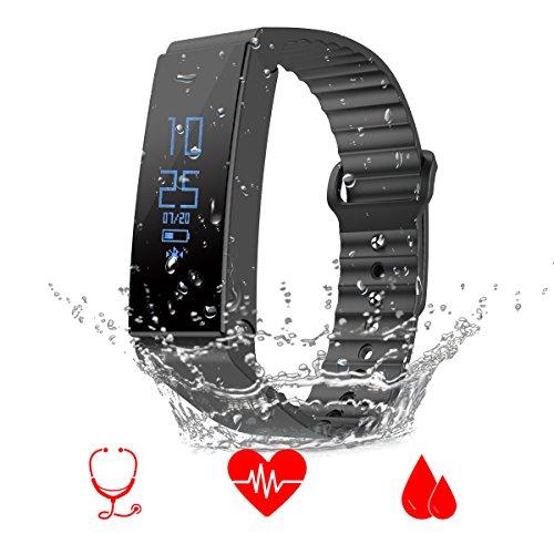 Fitness Armband Uhr Herzfrequenzmesser, FTLL Fitness Tracker mit Pulsmesser Schrittzähler, Aktivitätstracker, Kalorienzähler, Blutdruck- und Blut- Sauerstoffgehalt- Monitor, Schlafanalyse, IP67 Leben und schwimmen wasserdicht Bluetooth 4.0 für iOS und Android