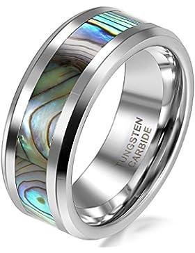 Herren-Ring poliertes Wolframcarbid Abalone-Inlay
