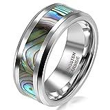JewelryWe Schmuck 8mm Breite Herren-Ring Wolframcarbid Ring Hochglanz mit Seeohr Inlay Engagement Hochzeit Band Größe 63
