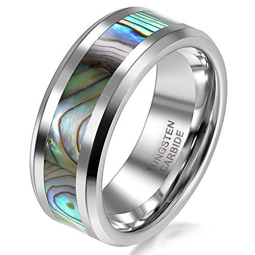 JewelryWe Schmuck 8mm Breite Herren-Ring Wolframcarbid Ring Hochglanz mit Seeohr Inlay Engagement Hochzeit Band Größe 70