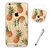 Lanpangzi Phone Case for iphone6/6S Cover Ultra Thin Shell TPU Clear Anti-shock Case - Hello Pineapples + Metal Touch Pen