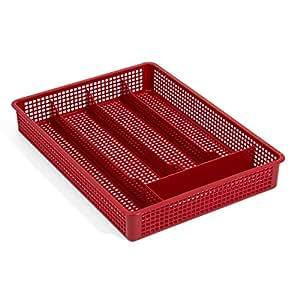 Panier a couverts rangement des couverts rouge 5 compartimens