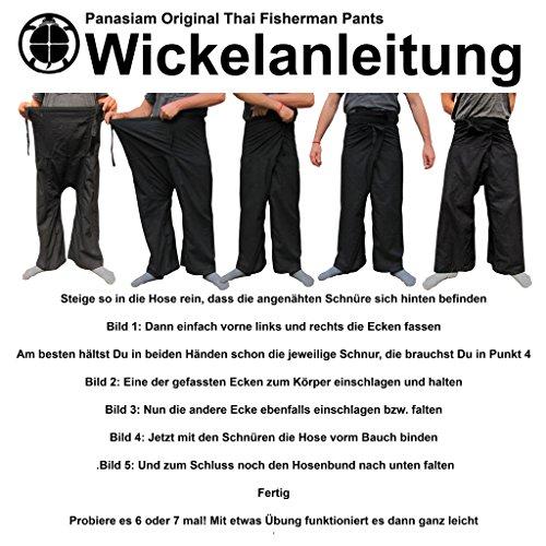 Panasiam® Fischerman Hosen, aus 100% natur Hanf, Unisize passt M bis XL, mit Tasche, Erstauflage, Top Qualität Hose in schwarz