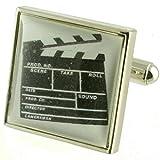Film Regisseur Filmklappe Manschettenknöpfe für Herren Manschettenknöpfe Sterling Silber 925massiv + Nachricht personalisierbar Gravur Box