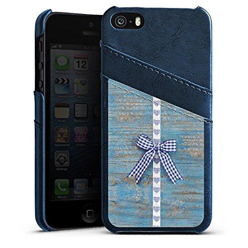 Apple iPhone 5s Housse Étui Protection Coque Look bois Boucle c½ur Fête de la bière Étui en cuir bleu marine