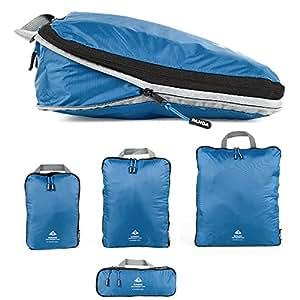 Outdoor Panda Packtaschen Set mit Kompression | ultraleichte Packwürfel für Rucksack und Koffer | Wasserabweisende Compression Packing Cubes als Gepäck Organizer und Kleidertasche (Blau, 1 x S)