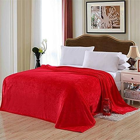 hhyws Couvre-lit doux et chaud Canapé Couverture Pure Color épais, en flanelle Rouge 200* * * * * * * * 230cm