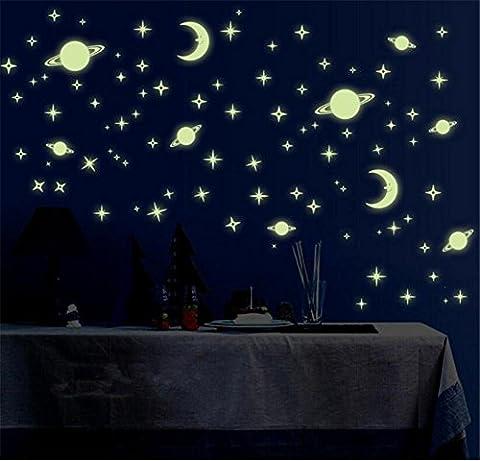 Adesivi e murali da parete Kids Bedroom Fluorescenti Glow in The Dark Stars Muro Art Stickers DIY Decalcomanie da parete Verde chiaro Luminoso Wall Sticker Murals per Soggiorno Adolescenti Bambini Baby Room Nursery Decorazione