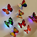 10 Pcs Wall Stickers Butterfly LED Lights Wall Stickers 3D House Decoration (Random-2)