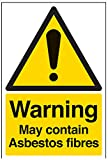 "VSafety 6B005AU-S ""Warning May Contain Asbestos Fibres"" Sign, Self Adhesive Vinyl, Portrait, 200 mm x 300 mm, Black/Yellow"