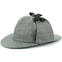 b4ca2a7353a Hawkins Wolle Fischgrätenmuster Deerstalker Sherlock Holmes Hut