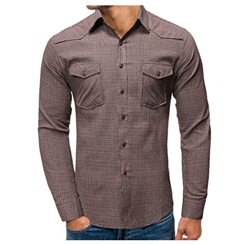 Heetey Hemd Top Mode für Männer Plaid Business Casual Langärmlige Shirts mit Umlegekragen Freizeithemd Langarmhemd Hemd Bestickt Baumwolle - für Oktoberfest, Karneval, Business, Freizeit -