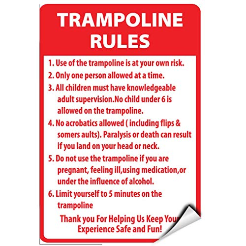 Price comparison product image Trampoline Rules Activity Sign Park Signs Park Rules Signs Warning Stickers Lable Decal Safety Signs and Stickers Vinyl for House Van Property Car Window 7 Inches X 10 Inches