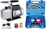 KFZ Auto Klima - Set TÜV Vakuumpumpe + Monteurhilfe + Schläuche, 51 - 57lt., R410a R 404a R134a