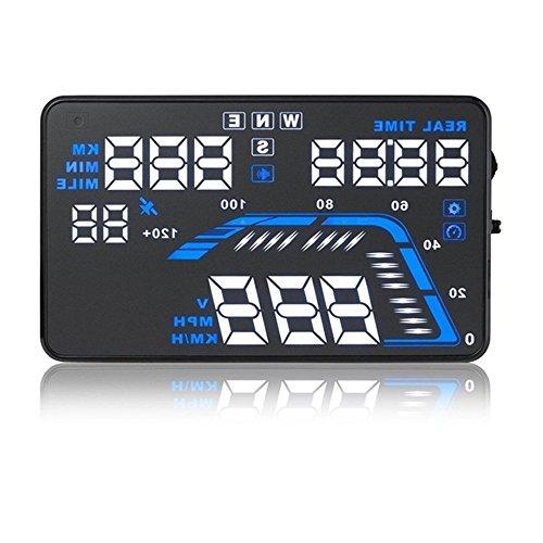 Aootek Q7, 14cm großer Bildschirm GPS Auto HUD Head Up Display km/h und mph, Geschwindigkeitswarnung