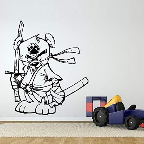yaoxingfu Lustige Ninja SamuraiEntfernbare Wandaufkleber Für Kindergarten Kinderzimmer Schönen Stil Vinyl Wandtattoos Schlafzimmer Babys Wandbilder weiß 57X66 cm
