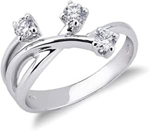 Gioielli di Valenza - Anello Trilogy in Oro bianco 18k con Diamanti ct. 0,35 - TRR1414-35BB