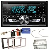 Kenwood DPX-7100DAB Bluetooth USB MP3 Autoradio iPhone iPod Doppel Din AOA 2.0 DAB+ Digitalradio Einbauset für Opel Vectra Omega Corsa Signum Meriva, Farbe der Radioblende:Silber (Matt-Chrom)