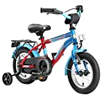 BIKESTAR Premium Sicherheits Kinderfahrrad 12 Zoll für Mädchen und Jungen ab 3-4 Jahre ★ 12er Kinderrad Modern ★ Fahrrad für Kinder Blau & Rot