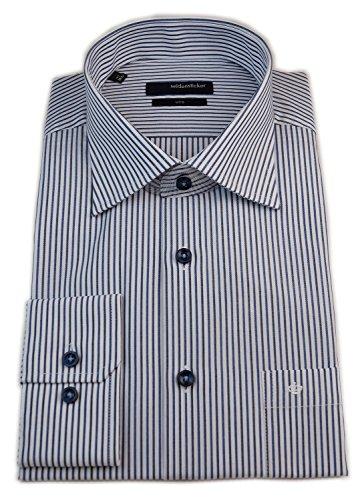 Seidensticker Herren Langarm Hemd UNO Regular Fit Kent blau / weiß gestreift 131070.18 Blau