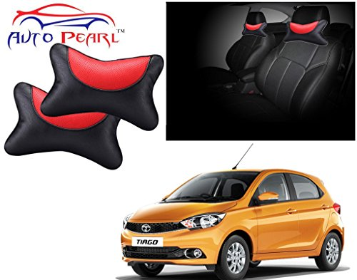 Auto Pearl Premium Car Neck Rest Pillow for Tata Tiago (Set of 2, Black and Red)