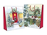 "Set of 2 Potrait Large Cute Traditional Christmas Gift Bags Santa Sacks 22"" x 16""- White Christmas setting"