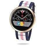 MyKronoz ZeRound2 HR Premium Smartwatch mit Herzfrequenzmonitor, eingebautem Mikrofon und Lautsprecher – Mattes Pink Gold / Pink-Weiß-Blau Nato Armband