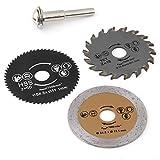 Lama Sega Circolare, Akozon 3pz 54,8mm HSS Seghe Circolari Mini Sega Circolare per Legno Disco Fresa + Mandrino