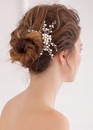 Kercisbeauty, pettinino con strass in cristallo e perline, accessorio per spose, damigelle, pettinino per copricapo, per chignon, capelli lunghi, ricci, acconciature da sposa