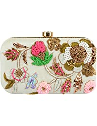 Tooba Handicraft Hand Embroidered Multicolour Clutch Bag Purse For Women