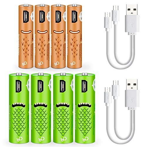 XIYIHOO Wiederaufladbare USB-Batterien (8 Stück), 1000 mAH AA-Batterien und AAA-Batterien, 450 mAh Hochleistungsbatterien, langlebige Energie, wiederaufladbare Batterie (4AA + 4AAA)... Usb Aaa Batterie