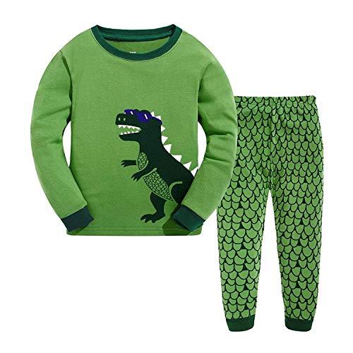 Garsumiss Jungen Schlafanzug Kinder Dinosaurier Pyjamas Sets Kleinkind Pjs Nachtwäsche 2-8 Jahre (104/3 Jahre, grün 2)