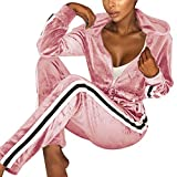 Fantasy Closet Frauen Damen Mode Trainingsanzug Streifen Zweiteilige Jogginganzug Lange Ärmel Zipper Top Lange Hose (Rosa, M)