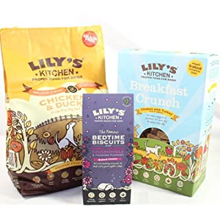 Natural, Holistic, Wholesome, Hearty, Artisan Lily's Kitchen Daytime Selection with two choices of either Springtime Lamb or Perfect Poultry with Chicken and Duck. Grain Free Kibble x 1kg, 800g Breakfast Crunch 800g oven toasted nuggets full of prebiotic yoghurt, Organic Berries, seeds, and oats, Blissful Bedtime Biscuits x 1 100g, full of calming Botanicals to aid a goodnights sleep. (Chicken and Duck Kibble)