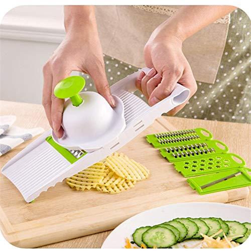 Slicer Gemüseschneider mit Edelstahlklinge Manuelle Kartoffelschäler Karottenkäse Reibe Dicer Kitchen Tool (Color : 01 Green)
