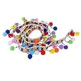 IPOTCH 1 Yard Regenborte Quaste Bälle Borte Bommelborte Pomponborte Pompomband Bommelband für Tasche Kleidung DIY