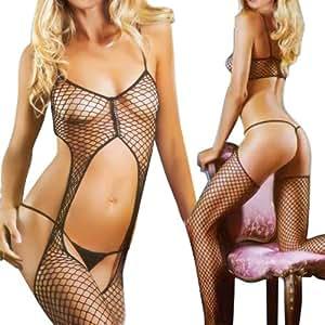lingerie nuisette chambre combinaison combinette robe bas body en resille S-L sexy Style 7