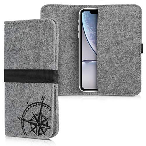 kwmobile Filz Tasche für Smartphones - mit Gummiband - Handy Filztasche Schutztasche in Kompass Vintage Design Schwarz Hellgrau - 16,0 x 8,0 cm Innenmaße