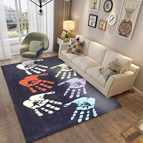 HJYL Teppich Moderne Geometrische Cartoon Kind Bunte Handabdruck Schlafzimmer Wohnzimmer Couchtisch Polyester80X160Cm