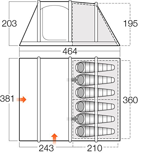 Vango Unisex Odyssey Airbeam Deluxe aufblasbares Zelt, Sky Blau, Größe 600 - 2